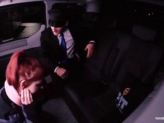 FUCKED IN TRAFFIC - Hot Czech redhead Vanessa Shelby gets fucked in the car