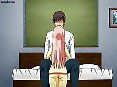 Грудастая Anime подростков предлагается прокатиться член этого парня на его доме