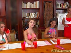 CFNM sexteacher instructs students on fucking