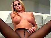 Hot quim in black pantyhose