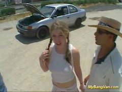 Bonito, adolescentes, primeiro, gangbang, meu, bangvan