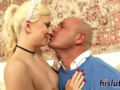 Horny maid rides on her