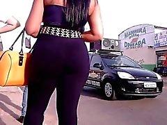Latina milf with plump ass in black pants