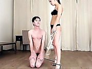 Mistress teaches submissive teenage boy a lesson by