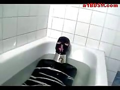 Bondaged Girl In Pvc Overal Sucking Nipples Licking Mistress Pussy In The Bath Tube