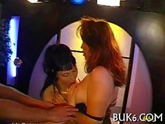 Bukkake brunette and blonde babes fucked and stickied up