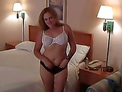 Busty brunette momma riding hard young boner