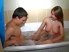 Hot couple copulating in bathroom