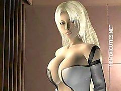 Blondasse en 3D hentai Babe spectacle nichons