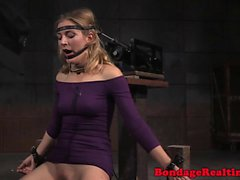 Real sub facefucked after sitting on a sybian