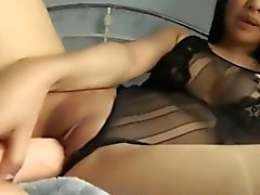 Sexy Young Asian and her Huge Dildo - FreeFetishTVcom