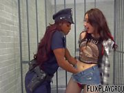 Horny black cop seduces and fucks with a white lesbian girl