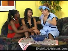 Fat Blonde Has Some Fun With Two Ebony Babes!