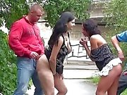 Public orgy gangbang foursome in public