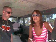 Young bruentte babe Gigi Larios has fun in bang bus