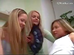 3 Teen Girls In Jeans Kissing Getting Undressed Patting Sucking Nipples Fucking With Dildo On The Bed
