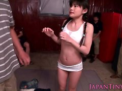 Jap swimsuit squirter toyed and fingered