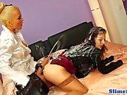 Femdom toying euro lesbians pussy
