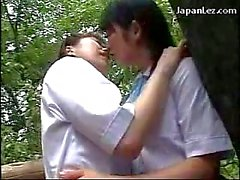 2 Schoolgirls In Uniform Kissing Rubbing Tits On On The Belvedere In The Forest