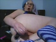 horny slut fucking herself anal dp squirt