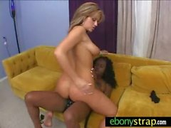 Babe dominated by her black lover with a huge strapon 23