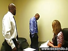A blonde secretary fucks two black dudes