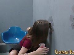 Horny teen sucking cock