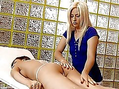 Massage Table Tryst by Sapphic Erotica lesbian love porn with Henessy Elma