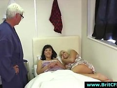 Older British guy strips for naughty CFNM girls
