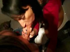 Brunette gets picked up and goes with him to give a blowjob