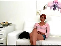 Small tittied redhead waitress fucks in casting