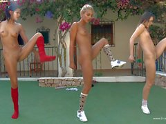 Ivana and friends do morning exercises naked