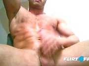 Ripped European Stud Sprays a Big Load On Chest