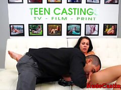 Sweet teen gagged and roughfucked at casting