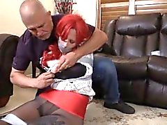Woman Taped Up In Black Pantyhose