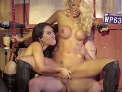 Jessica Drake and Asa Akira dunked by the same dick