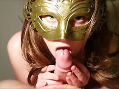 Masked girl gives sexy blowjob and handjob (Danish)