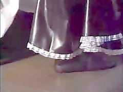 Bondage latex maid with crual mistress