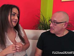 Brunette Teen Tess Kisses Grandpa