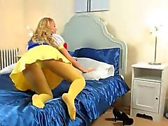 yellow pantyhose on shocking girl