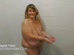 Saggy tits in the shower