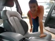 French Shaved Hair Brunette Girl Naked On Public Parking - Nue en publique