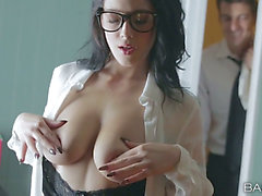 Raven haired sweetheart Noelle Easton copulates excited office worker