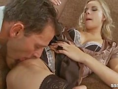 Blonde babe in stockings strips to lingerie before riuding her lovers cock