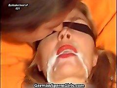 Puta loira fica bonito rosto jizzed