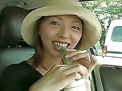 Horny asian chick masturbates hairy pussy in the car