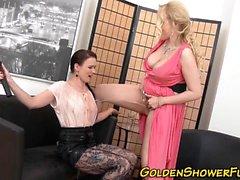 Golden showering lesbians