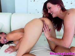Redhead lesbian pussylicking and rimming babe