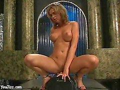Machine sex for a busty stripper