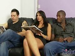 Raven-haired slut pleasures numerous fat shafts